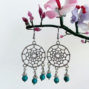Genuine turquoise dream catcher boho earrings